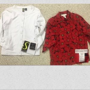 NEW Red Blouse with White Sweatshirt Jacket